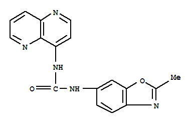 Molecular Structure of 792173-99-0 (Urea,N-(2-methyl-6-benzoxazolyl)-N'-1,5-naphthyridin-4-yl-)