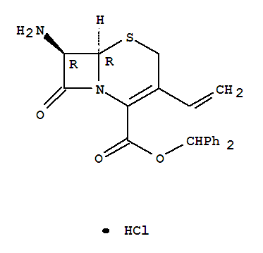 CAS NO:79349-67-0 5-Thia-1-azabicyclo[4.2.0]oct-2-ene-2-carboxylicacid, 7-amino-3-ethenyl-8-oxo-, diphenylmethyl ester, hydrochloride (1:1),(6R,7R)- Molecular Structure