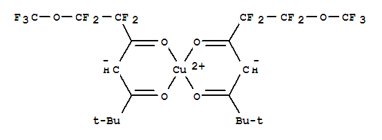 Molecular Structure of 80289-21-0 (Copper,bis[1,1,2,2-tetrafluoro-6,6-dimethyl-1-(trifluoromethoxy)-3,5-heptanedionato-O3,O5]-(9CI))