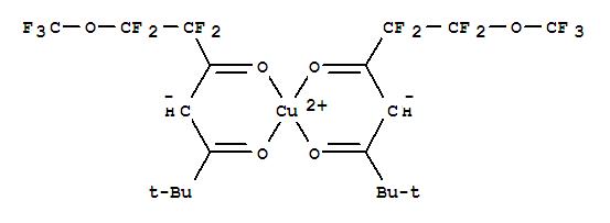 Molecular Structure of 80289-21-0 (Copper,bis[1,1,2,2-tetrafluoro-6,6-dimethyl-1-(trifluoromethoxy)-3,5-heptanedionato-O3,O5]-(9CI))