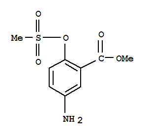 Molecular Structure of 80430-22-4 (Benzoic acid,5-amino-2-[(methylsulfonyl)oxy]-, methyl ester)