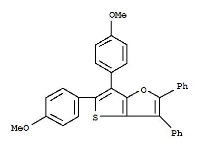 CAS NO:81385-77-5 Thieno[3,2-b]furan,5,6-bis(4-methoxyphenyl)-2,3-diphenyl- Molecular Structure