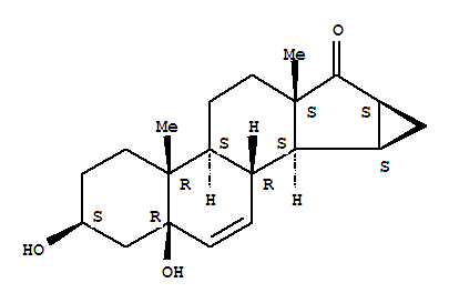 Molecular Structure of 82543-15-5 ((3b,5b,15a,16a)-15,16-Dihydro-3,5-dihydroxy-3'H-cycloprop[15,16]androsta-6,15-dien-17-one)