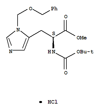 Molecular Structure of 83468-80-8 (L-Histidine,N-[(1,1-dimethylethoxy)carbonyl]-3-[(phenylmethoxy)methyl]-, methyl ester,monohydrochloride (9CI))
