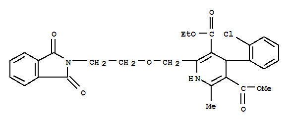 Molecular Structure of 88150-62-3 (3,5-Pyridinedicarboxylicacid,4-(2-chlorophenyl)-2-[[2-(1,3-dihydro-1,3-dioxo-2H-isoindol-2-yl)ethoxy]methyl]-1,4-dihydro-6-methyl-,3-ethyl 5-methyl ester)