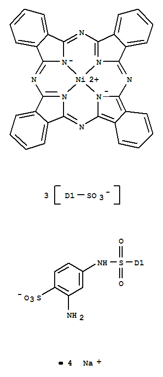 Molecular Structure of 93939-76-5 (Nickelate(4-),[C-[[(3-amino-4-sulfophenyl)amino]sulfonyl]-29H,31H-phthalocyanine-C,C,C-trisulfonato(6-)-kN29,kN30,kN31,kN32]-, tetrasodium (9CI))