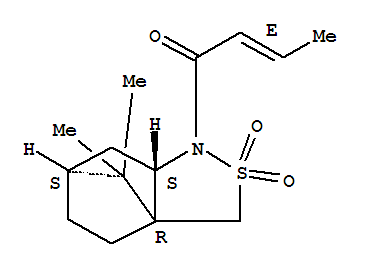 Molecular Structure of 94594-81-7 (2-Buten-1-one,1-[(3aR,6S,7aS)-tetrahydro-8,8-dimethyl-2,2-dioxido-3H-3a,6-methano-2,1-benzisothiazol-1(4H)-yl]-,(2E)-)