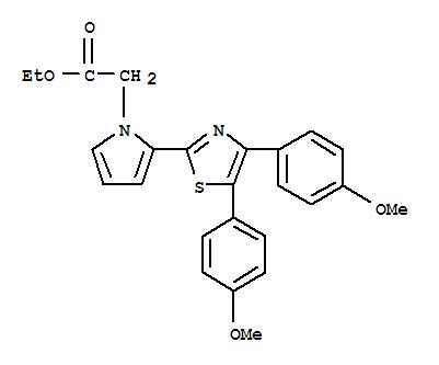 Molecular Structure of 101001-34-7 (1H-Pyrrole-1-aceticacid, 2-[4,5-bis(4-methoxyphenyl)-2-thiazolyl]-, ethyl ester)