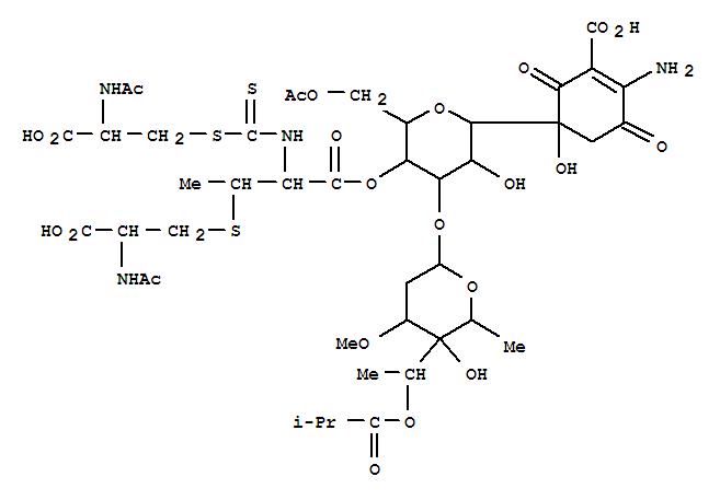 101411-71-6,L-Cysteine, N-acetyl-,[2-[[2-(acetylamino)-2-carboxyethyl]thio]-1-carboxypropyl]carbamodithioate(ester), 1'®4'-ester with5-[6-O-acetyl-3-O-[2,6-dideoxy-3-O-methyl-4-C-[1-(2-methyl-1-oxopropoxy)ethyl]-a-L-lyxo-hexopyranosyl]-b-D-allopyranosyl]-2-amino-5-hydroxy-3,6-dioxo-1-cyclohexene-1-carboxylicacid (9CI),Antibiotic273a1b; Paldimycin B