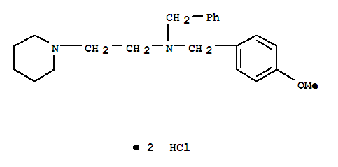 Molecular Structure of 101997-55-1 (1-Piperidineethanamine,N-[(4-methoxyphenyl)methyl]-N-(phenylmethyl)-, hydrochloride (1:2))