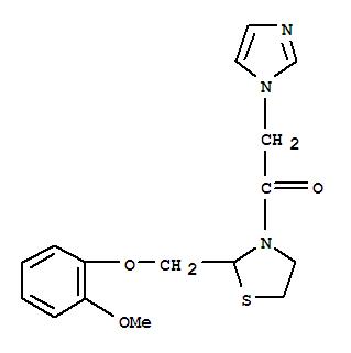 103181-95-9,Ethanone,2-(1H-imidazol-1-yl)-1-[2-[(2-methoxyphenoxy)methyl]-3-thiazolidinyl]-,Thiazolidine,3-(1H-imidazol-1-ylacetyl)-2-[(2-methoxyphenoxy)methyl]- (9CI)