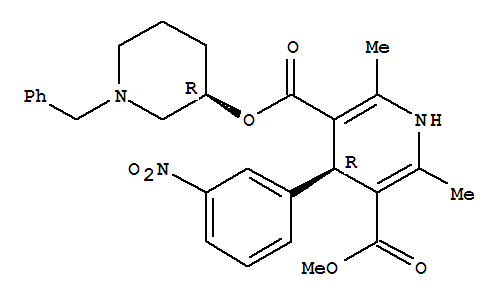 Molecular Structure of 105979-17-7 (3,5-Pyridinedicarboxylicacid, 1,4-dihydro-2,6-dimethyl-4-(3-nitrophenyl)-, 3-methyl5-[(3R)-1-(phenylmethyl)-3-piperidinyl] ester, (4R)-rel-)