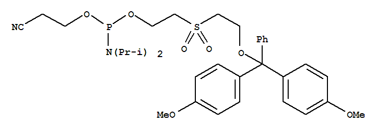 Molecular Structure of 108783-02-4 (Phosphoramidous acid,N,N-bis(1-methylethyl)-,2-[[2-[bis(4-methoxyphenyl)phenylmethoxy]ethyl]sulfonyl]ethyl 2-cyanoethylester)