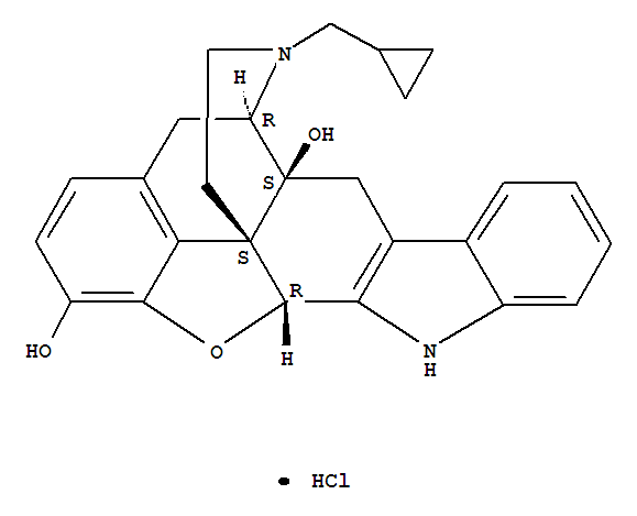 Molecular Structure of 111469-81-9 (4,8-Methanobenzofuro[2,3-a]pyrido[4,3-b]carbazole-1,8a(9H)-diol,7-(cyclopropylmethyl)-5,6,7,8,14,14b-hexahydro-, hydrochloride (1:1),(4bS,8R,8aS,14bR)-)