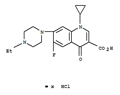 Molecular Structure of 112732-17-9 (3-Quinolinecarboxylicacid, 1-cyclopropyl-7-(4-ethyl-1-piperazinyl)-6-fluoro-1,4-dihydro-4-oxo-,hydrochloride (1:?))