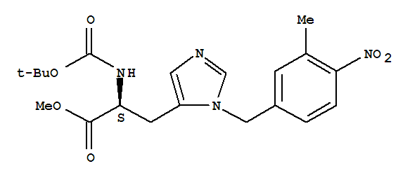 Molecular Structure of 114787-83-6 (L-Histidine,N-[(1,1-dimethylethoxy)carbonyl]-3-[(3-methyl-4-nitrophenyl)methyl]-, methylester)