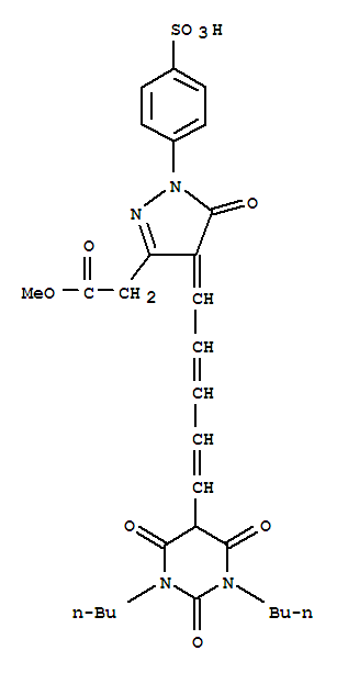 Molecular Structure of 118702-26-4 (1H-Pyrazole-3-aceticacid,4-[5-(1,3-dibutylhexahydro-2,4,6-trioxo-5-pyrimidinyl)-2,4-pentadien-1-ylidene]-4,5-dihydro-5-oxo-1-(4-sulfophenyl)-,3-methyl ester)