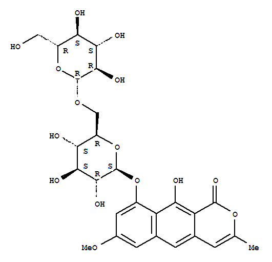 Molecular Structure of 119170-52-4 (1H-Naphtho[2,3-c]pyran-1-one,9-[(6-O-b-D-glucopyranosyl-b-D-glucopyranosyl)oxy]-10-hydroxy-7-methoxy-3-methyl-)
