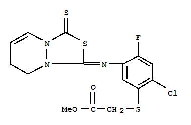 121027-38-1,Acetic acid,2-[[2-chloro-5-[(7,8-dihydro-3-thioxo-1H,3H-[1,3,4]thiadiazolo[3,4-a]pyridazin-1-ylidene)amino]-4-fluorophenyl]thio]-,methyl ester,Aceticacid,[[2-chloro-5-[(7,8-dihydro-3-thioxo-1H,3H-[1,3,4]thiadiazolo[3,4-a]pyridazin-1-ylidene)amino]-4-fluorophenyl]thio]-,methyl ester (9CI); 1H,3H-[1,3,4]Thiadiazolo[3,4-a]pyridazine, acetic acidderiv.; NCI 876649