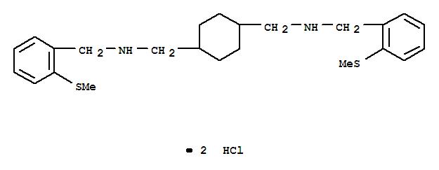 1250-64-2,1,4-Cyclohexanedimethanamine,N1,N4-bis[[2-(methylthio)phenyl]methyl]-, hydrochloride (1:2),1,4-Cyclohexanebis(methylamine),N,N'-bis[o-(methylthio)benzyl]-, dihydrochloride (7CI,8CI)