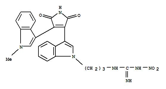125314-46-7,Guanidine,N-[3-[3-[2,5-dihydro-4-(1-methyl-1H-indol-3-yl)-2,5-dioxo-1H-pyrrol-3-yl]-1H-indol-1-yl]propyl]-N'-nitro-(9CI),Ro 31-8161