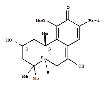 Molecular Structure of 126006-07-3 (3(4bH)-Phenanthrenone,5,6,7,8,8a,9-hexahydro-6,10-dihydroxy-4-methoxy-4b,8,8-trimethyl-2-(1-methylethyl)-,[4bS-(4ba,6b,8ab)]- (9CI))