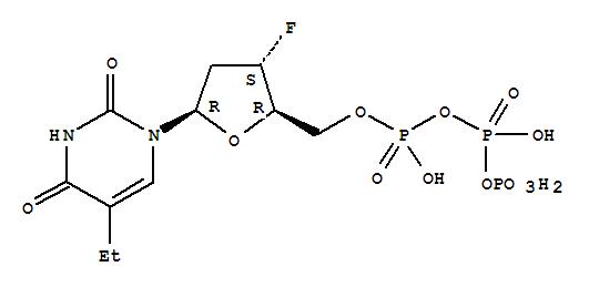 Molecular Structure of 126609-62-9 (Uridine5'-(tetrahydrogen triphosphate), 2',3'-dideoxy-5-ethyl-3'-fluoro- (9CI))