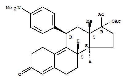 126784-99-4,19-Norpregna-4,9-diene-3,20-dione,17-(acetyloxy)-11-[4-(dimethylamino)phenyl]-, (11b)-,17a-Acetoxy-11b-(4-dimethylaminophenyl)-19-norpregna-4,9-dien-3,20-dione;17a-Acetoxy-11b-[4-N,N-dimethylaminophenyl]-19-norpregna-4,9-diene-3,20-dione;CBD(VA) 2914;CDB 2914;HRP 2000;RTI 3021-012;RU 44675;Ulipristal acetate;VA 2914;Ellaone;