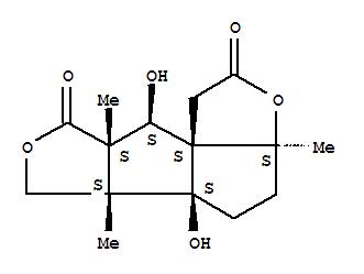 128260-69-5,8H-Furo[3',4':4,5]pentaleno[1,6a-b]furan-2,8(1H)-dione,octahydro-5a,9-dihydroxy-3a,5b,8a-trimethyl-, (3aS,5aS,5bS,8aS,9S,9aS)-,8H-Pentaleno[4,3a-b:1,2-c']difuran-2,8(1H)-dione,octahydro-5a,9-dihydroxy-3a,5b,8a-trimethyl-, (3aS,5aS,5bS,8aS,9S,9aS)- (9CI);8H-Pentaleno[4,3a-b:1,2-c']difuran-2,8(1H)-dione,octahydro-5a,9-dihydroxy-3a,5b,8a-trimethyl-, [3aS-(3aa,5ab,5bb,8ab,9b,9aR*)]-; Anislactone A