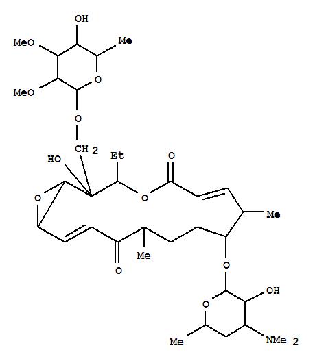 129046-73-7,4,17-Dioxabicyclo[14.1.0]heptadeca-6,14-diene-5,13-dione,2-[[(6-deoxy-2,3-di-O-methyl-b-D-allopyranosyl)oxy]methyl]-3-ethyl-2-hydroxy-8,12-dimethyl-9-[[3,4,6-trideoxy-3-(dimethylamino)-b-D-xylo-hexopyranosyl]oxy]-,(1R,2S,3R,6E,8S,10R,12R,14E,16S)- (9CI),MycinamicinI, 6-demethyl-14-hydroxy-; 4,17-Dioxabicyclo[14.1.0]heptadecane, mycinamicin Ideriv.; Mycinamicin XII; Mycinamycin XII