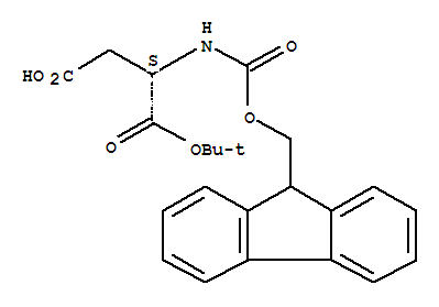 Molecular Structure of 129460-09-9 (L-Aspartic acid,N-[(9H-fluoren-9-ylmethoxy)carbonyl]-, 1-(1,1-dimethylethyl) ester)