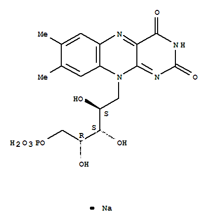 Molecular Structure of 130-40-5 (Riboflavin5'-(dihydrogen phosphate), sodium salt (1:1))