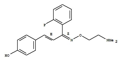 Molecular Structure of 130579-75-8 (2-Propen-1-one,1-(2-fluorophenyl)-3-(4-hydroxyphenyl)-, O-[2-(dimethylamino)ethyl]oxime,(1Z,2E)-)