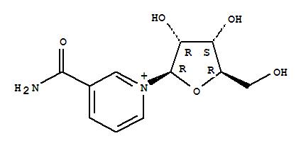 1341-23-7,Pyridinium,3-(aminocarbonyl)-1-b-D-ribofuranosyl-,Pyridinium,3-carbamoyl-1-b-D-ribofuranosyl-(8CI);3-Pyridinecarboxamide, 1-b-D-ribosyl-;Nicotinamide ribonucleoside;Nicotinamide ribose;Nicotinamide riboside;Ribosylnicotinamide;1-[3,4-dihydroxy-5-(hydroxymethyl)oxolan-2-yl]pyridine-5-carboxamide;nicotinamide-beta-riboside;