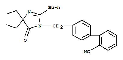 Molecular Structure of 138401-24-8 ([1,1'-Biphenyl]-2-carbonitrile,4'-[(2-butyl-4-oxo-1,3-diazaspiro[4.4]non-1-en-3-yl)methyl]-)