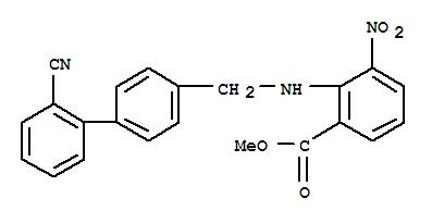 Molecular Structure of 139481-28-0 (Benzoic acid,2-[[(2'-cyano[1,1'-biphenyl]-4-yl)methyl]amino]-3-nitro-, methyl ester)