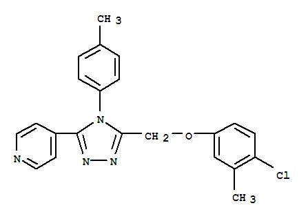Molecular Structure of 141079-10-9 (Pyridine,4-[5-[(4-chloro-3-methylphenoxy)methyl]-4-(4-methylphenyl)-4H-1,2,4-triazol-3-yl]-)