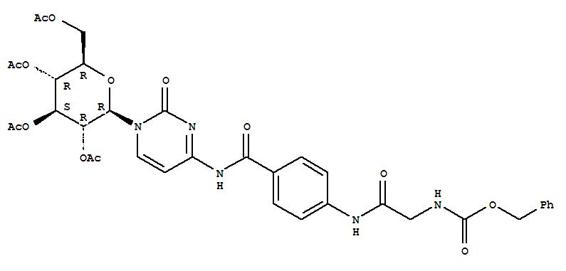 14134-34-0,Carbamic acid,[[[p-[(1-b-D-glucopyranosyl-1,2-dihydro-2-oxo-4-pyrimidinyl)carbamoyl]phenyl]carbamoyl]methyl]-,benzyl ester, tetraacetate (ester) (8CI),NSC409261