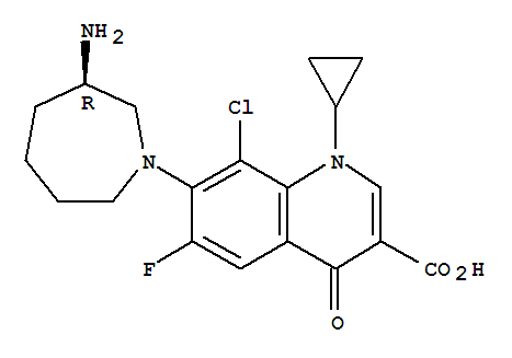 Molecular Structure of 141388-76-3 (3-Quinolinecarboxylicacid,7-[(3R)-3-aminohexahydro-1H-azepin-1-yl]-8-chloro-1-cyclopropyl-6-fluoro-1,4-dihydro-4-oxo-)