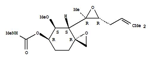 142186-14-9,1-Oxaspiro[2.5]octan-6-ol,5-methoxy-4-[(2R,3R)-2-methyl-3-(3-methyl-2-butenyl)oxiranyl]-,methylcarbamate, (3R,4S,5S,6R)- (9CI),1-Oxaspiro[2.5]octan-6-ol,5-methoxy-4-[2-methyl-3-(3-methyl-2-butenyl)oxiranyl]-, methylcarbamate, [3R-[3a,4a(2R*,3R*),5b,6b]]-; FR 118487