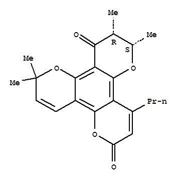 142632-36-8,2H,6H,12H-Benzo[1,2-b:3,4-b':5,6-b'']tripyran-6,12-dione,10,11-dihydro-2,2,10,11-tetramethyl-8-propyl-, (10S,11R)-,2H,6H,12H-Benzo[1,2-b:3,4-b':5,6-b'']tripyran-6,12-dione,10,11-dihydro-2,2,10,11-tetramethyl-8-propyl-, (10S-cis)-; Calanolide D