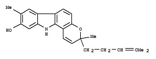 144606-95-1,Pyrano[3,2-a]carbazol-9-ol,3,11-dihydro-3,8-dimethyl-3-(4-methyl-3-pentenyl)- (9CI),Isomahanine