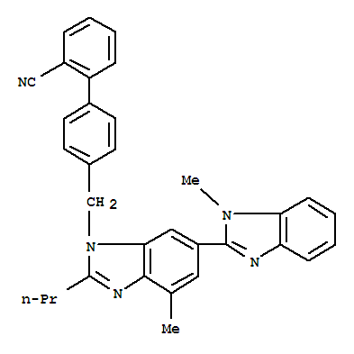 Molecular Structure of 144702-27-2 ([1,1'-Biphenyl]-2-carbonitrile,4'-[(1,4'-dimethyl-2'-propyl[2,6'-bi-1H-benzimidazol]-1'-yl)methyl]-)