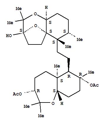 145458-07-7,1-Benzoxepin-3,7-diol,decahydro-2,2,5a,7-tetramethyl-6-[2-[(3S,5aS,6S,7S,9aS)-octahydro-3-hydroxy-2,2,6,7-tetramethyl-6H-3,5a-epoxy-1-benzoxepin-6-yl]ethyl]-,3,7-diacetate, (3R,5aS,6R,7R,9aS)-,1-Benzoxepin-3,7-diol,decahydro-2,2,5a,7-tetramethyl-6-[2-(octahydro-3-hydroxy-2,2,6,7-tetramethyl-6H-3,5a-epoxy-1-benzoxepin-6-yl)ethyl]-,3,7-diacetate, [3S-[3a,5aa,6a(3S*,5aR*,6S*,7S*,9aR*),7a,9aa]]-; 1-Benzoxepin-3,7-diol,decahydro-2,2,5a,7-tetramethyl-6-[2-[(3R,5aS,6R,7R,9aS)-octahydro-3-hydroxy-2,2,6,7-tetramethyl-6H-3,5a-epoxy-1-benzoxepin-6-yl]ethyl]-,3,7-diacetate, (3S,5aS,6S,7S,9aS)- (9CI); 6H-3,5a-Epoxy-1-benzoxepin,1-benzoxepin-3,7-diol deriv.; (-)-Raspacionin A; Raspacionin A