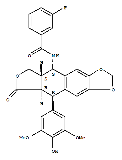 Molecular Structure of 147912-43-4 (Benzamide,3-fluoro-N-[(5S,5aS,8aR,9R)-5,5a,6,8,8a,9-hexahydro-9-(4-hydroxy-3,5-dimethoxyphenyl)-8-oxofuro[3',4':6,7]naphtho[2,3-d]-1,3-dioxol-5-yl]-)