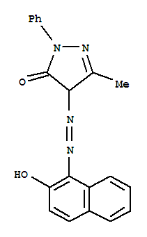 Molecular Structure of 15073-39-9 (3H-Pyrazol-3-one,2,4-dihydro-4-[2-(2-hydroxy-1-naphthalenyl)diazenyl]-5-methyl-2-phenyl-)