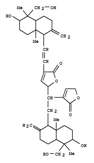 160498-01-1,2(5H)-Furanone,5-[2-[decahydro-6-hydroxy-5-(hydroxymethyl)-5,8a-dimethyl-2-methylene-1-naphthalenyl]-1-(2,5-dihydro-2-oxo-3-furanyl)ethyl]-3-[2-[decahydro-6-hydroxy-5-(hydroxymethyl)-5,8a-dimethyl-2-methylene-1-naphthalenyl]ethenyl]-(9CI),BisandrographolideB