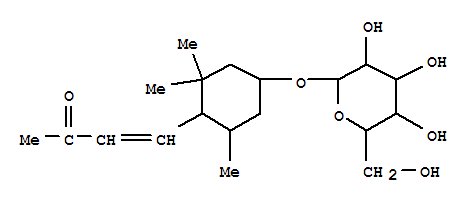 168009-97-0,3-Buten-2-one,4-[(1R,4S,6R)-4-(b-D-glucopyranosyloxy)-2,2,6-trimethylcyclohexyl]-,(3E)- (9CI),3-Buten-2-one,4-[4-(b-D-glucopyranosyloxy)-2,2,6-trimethylcyclohexyl]-,[1R-[1a(E),4b,6b]]-; Alangionoside L