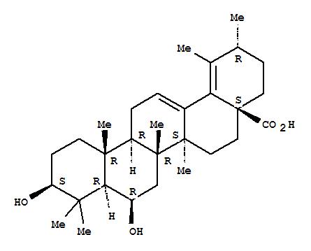 Molecular Structure of 168301-30-2 (Ursa-12,18-dien-28-oicacid, 3,6-dihydroxy-, (3b,6b)-)