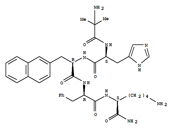 170851-70-4,Ipamorelin,2-methylalanyl-L-histidyl-3-naphthalen-2-yl-D-alanyl-D-phenylalanyl-L-lysinamide;NNC 26-0161;L-Lysinamide,2-methylalanyl-L-histidyl-3-(2-naphthalenyl)-D-alanyl-D-phenylalanyl-;